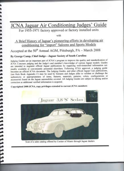 JCNA guide to Jaguar air conditioning 1955 to 1971.